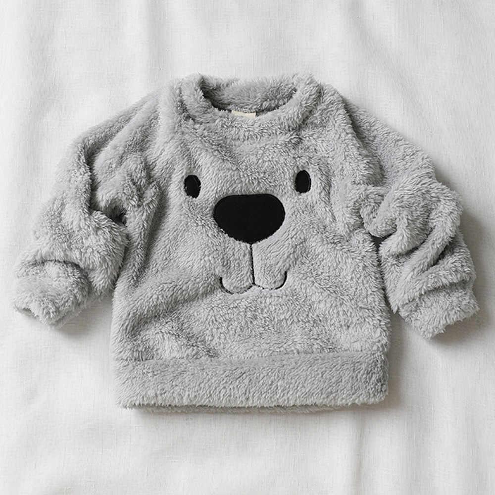 Meninos meninas roupas grossas camisola casaco adorável urso dos desenhos animados crianças bebê infantil quente velo blusa camiseta crianças casaco