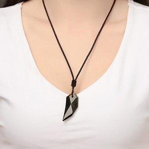 Натуральный лед золото Обсидиан кулон ожерелье волчий зуб для женщин и мужчин свитер ожерелье с веревкой амулеты и ювелирные изделия-талисманы