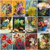 HUACAN Oil Painting Flower DIY Drawing Canvas Handpainted Wall Art Pictures By Number Flower Home Decoration Gift