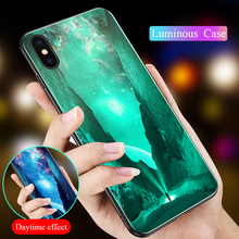 Luminous Phone Cover Case For iPhone XR XS Max X 8 7 6S 6 Plus Tempered Glass Hard Back 5 5S SE Cases