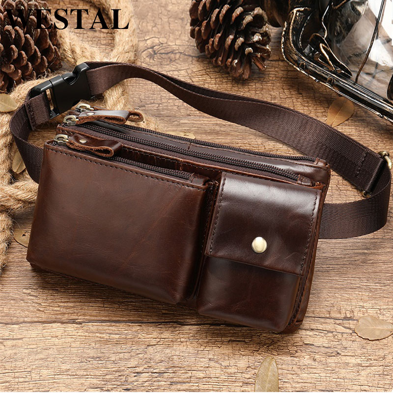 WESTAL Men's Waist Bags Genuine Leather Belt Bag Men Male Fanny Pack Money Belt Small Waist Pack With Handle Thigh/Hip Bags 8798