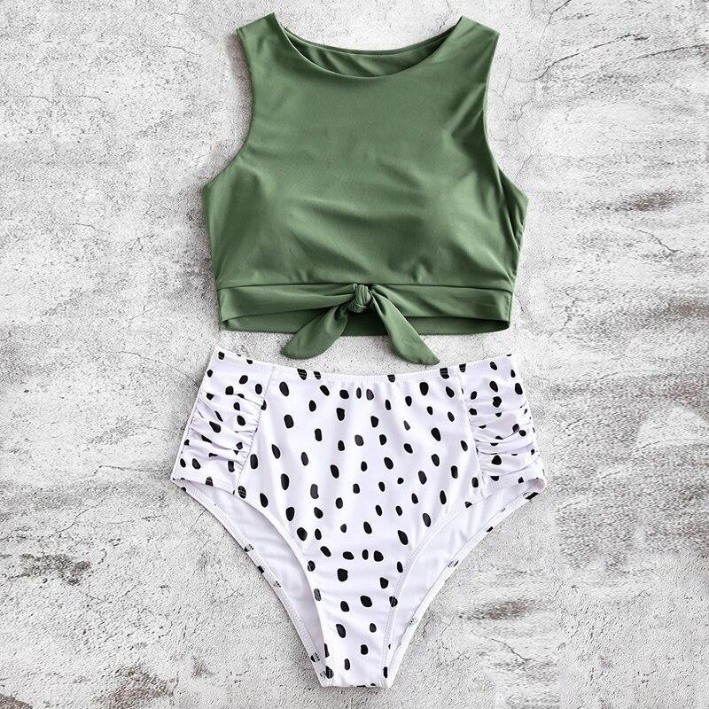 High Waist Swimsuit Women Printed Push Up Knot Hem Bikini Set Sexy Swimwear Biquini Beachwear Bikini Mujer Female Bathing Suit