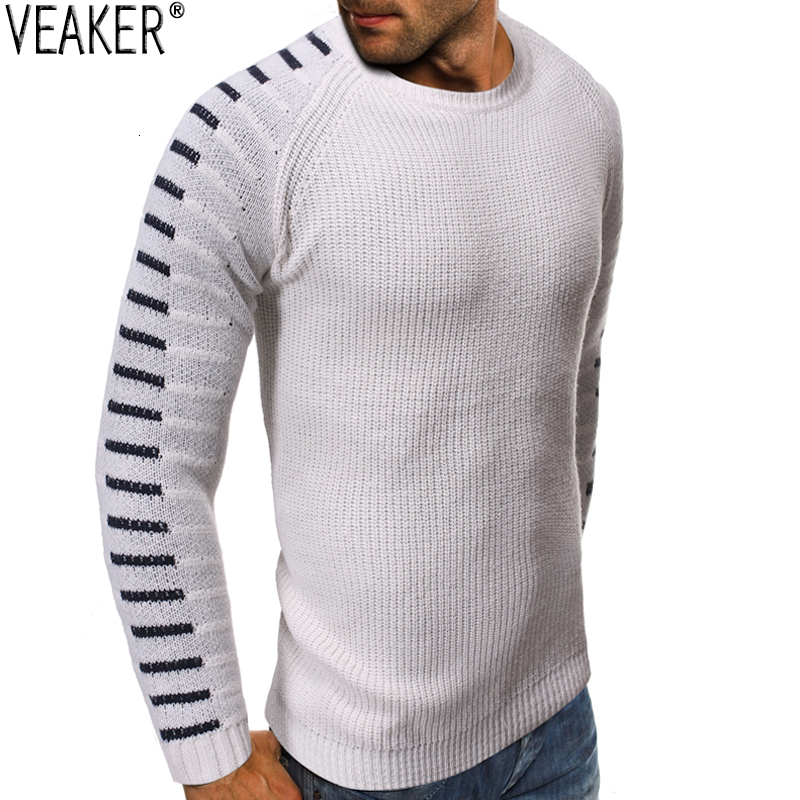 2019 Autumn Winter New Men's Slim Fit Sweater Pullovers Male Patchwork Long Sleeve O-Neck Knitted Sweater Tops S-2XL