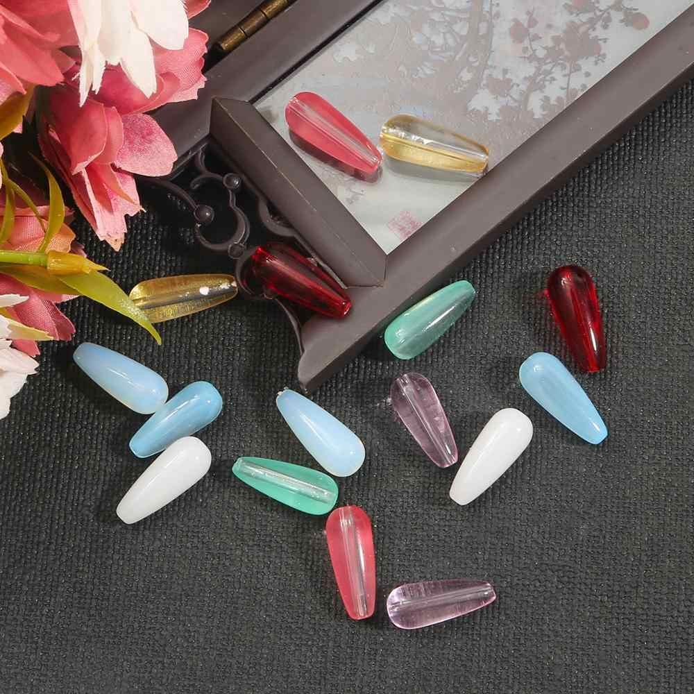 הטוב ביותר למכור 8 צבעים זכוכית מים Drop צורת חרוזים זכוכית חרוזים 8X19MM Loose Spacer העגול לתכשיטי ביצוע DIY