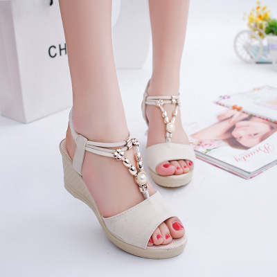 2019 New Korean Fashion Toe Fish Mouth Sandals Women Beaded Daily Slope Heel Shoes