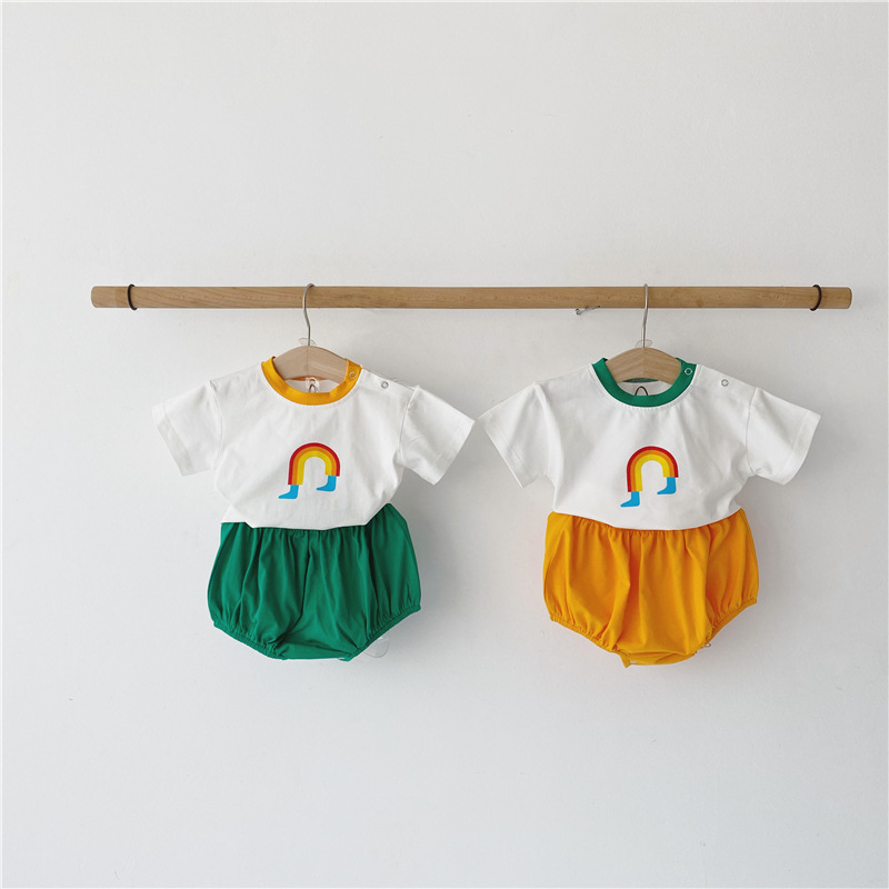 MILANCEL Summer Baby Clothes Korean Baby Boys Clothes Set Toddler Outfits Girl Clothing Ranibow Tee And Bloomer 2 Pcs Clothes