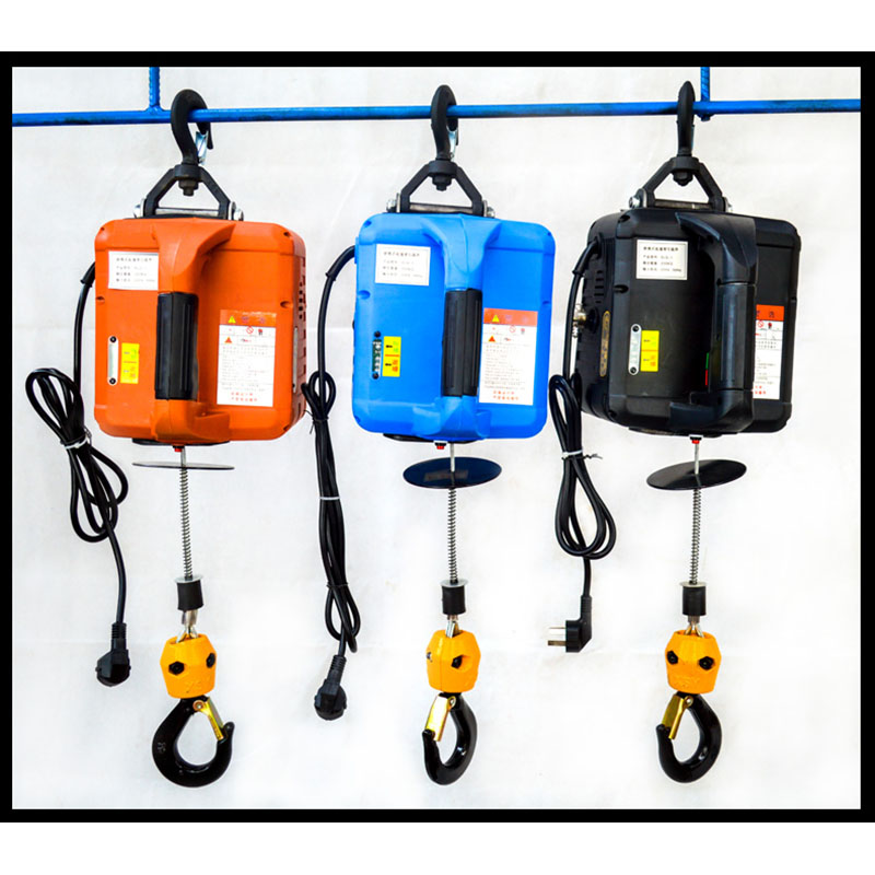 220V Electric Winch Portable Hand Winch Electric Block Windlass Lifting Hoist Towing Rope 100/200/300/500kg