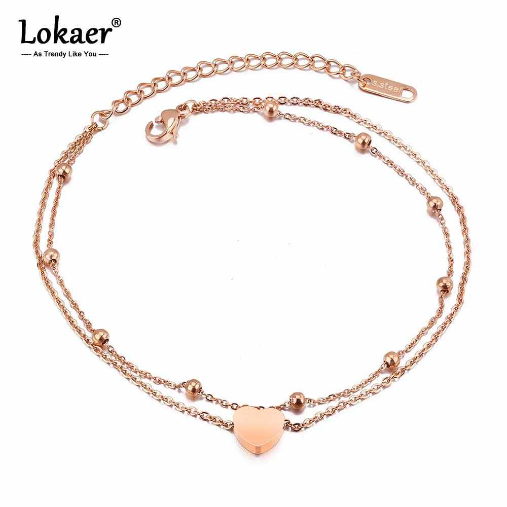 Lokaer New Fashion Double Layer Stainless Steel Heart Charm Anklets For Women Rose Gold Color Leg Bracelet Foot Jewelry A19026