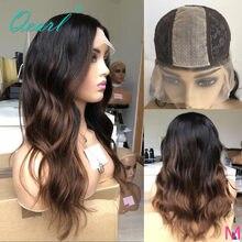 Qpearl-Peluca de cabello humano con encaje de 2x6, pelo largo ondulado brasileño, Base superior de cuero cabelludo, Ombre, 1b/30, 150%, 180%