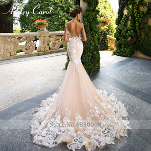 Image 2 - Ashley Carol Invisible Neckline Mermaid Wedding Dresses 2020 Sexy Backless Bride Dress Romantic Lace Appliques Wedding Gowns