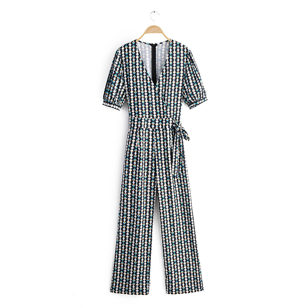 2020 New women vintage cross v neck diamond print casual slim jumpsuits ladies retro puff sleeve lace up pants chic siamese P606