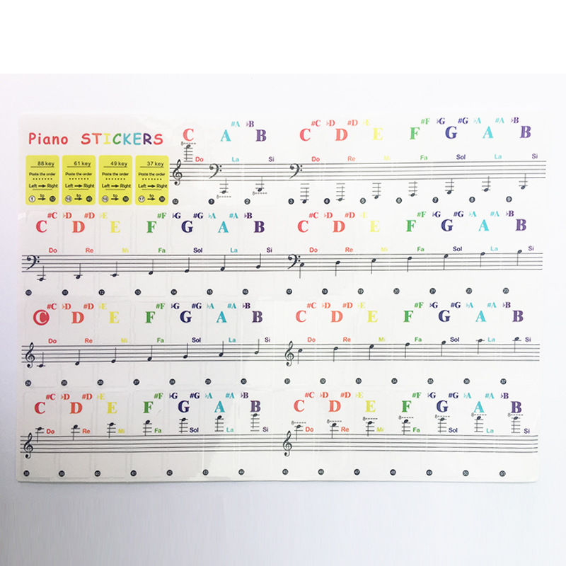 Piano Sticker Transparent Piano Keyboard Sticker 49/61 Key Electronic Keyboard 88 Key Piano Stave Note Sticker For White Keys