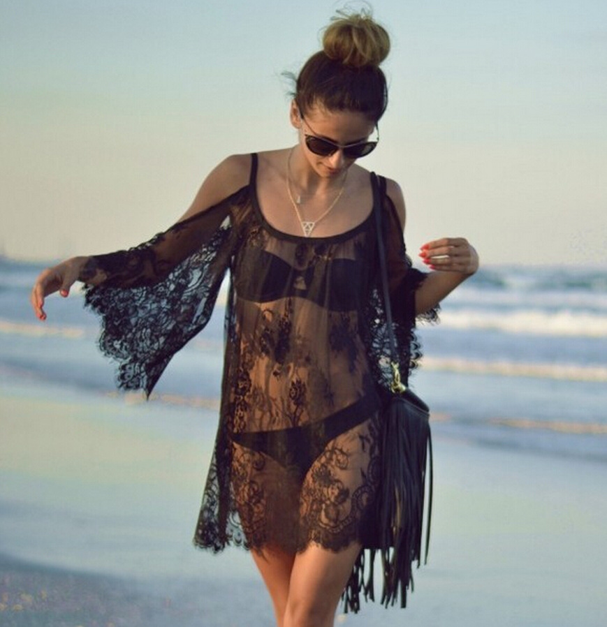2015 European And American-Style Transparent Porous Lace Off-Shoulder Beach Skirt