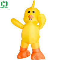 Purim Inflatable Small Yellow Duck Costume Blow Up Duck Costume Halloween Christmas Party Cosplay Costumes Air Blown Funny Dress