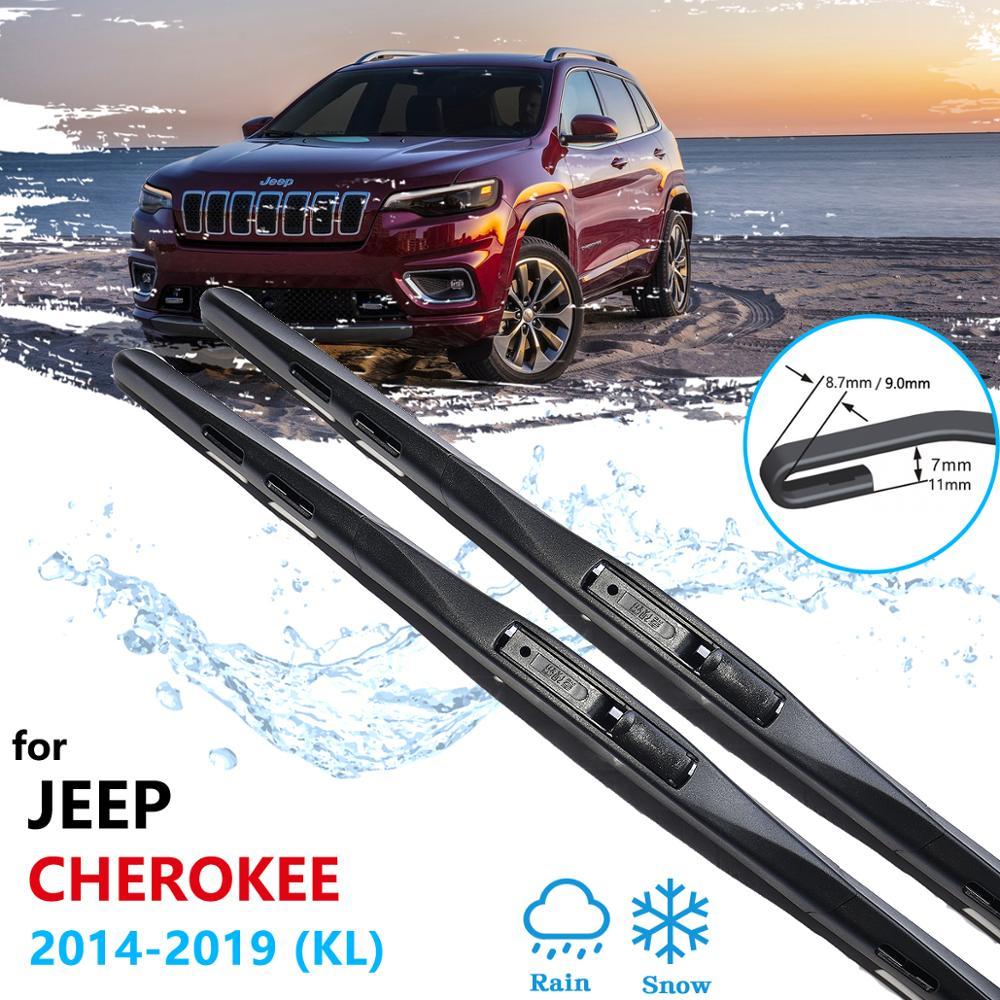 Para jeep cherokee kl 2014 2015 2016 2017 2018 2019 lâminas de limpador do carro janela dianteira windscreen windshield acessórios do carro adesivos