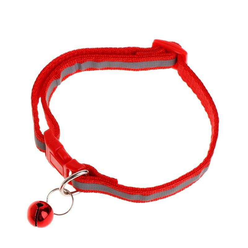 Ошейник для питомца, Светоотражающий ремень, защита от потери собаки, щенка, котенка, кошки, ремень для безопасности, регулируемый звонок, декоративные изделия L41A - Цвет: Красный