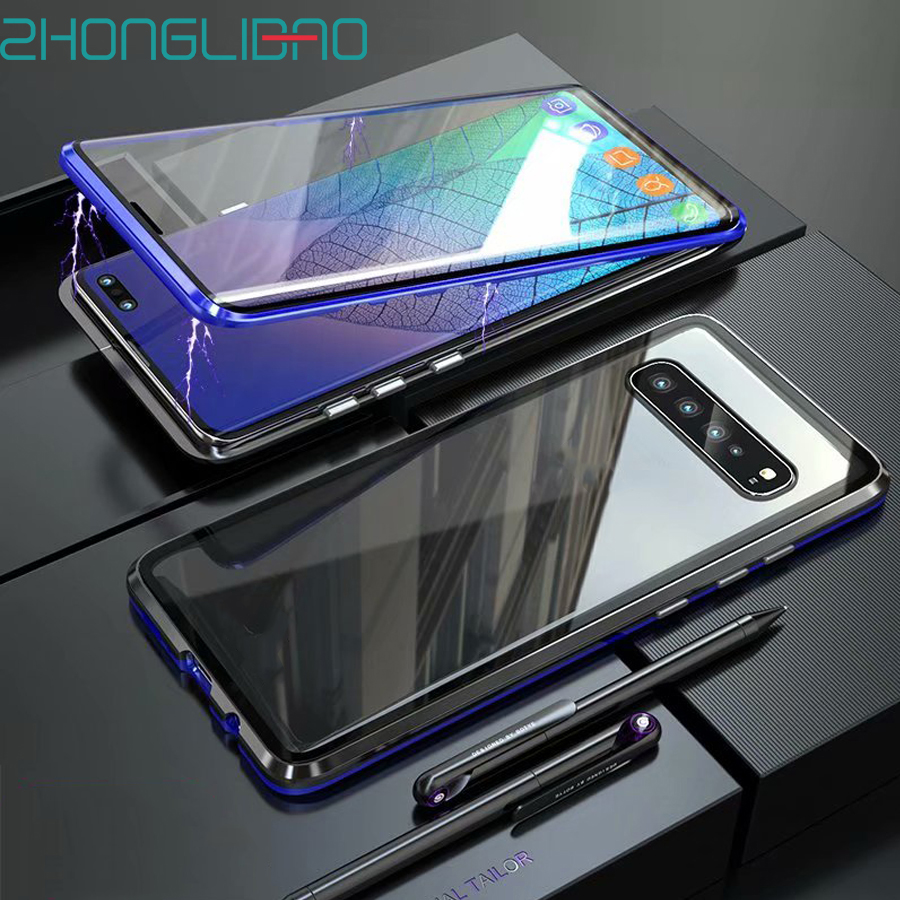 Luxury Magnetic Metal Case for <font><b>Samsung</b></font> s20 ultra S10 5G S9 S8 Plus Note 9 8 <font><b>S10e</b></font> Front Back 360 Glass Full Body Protective Cover image