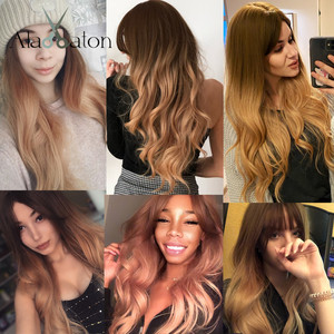 Image 3 - ALAN EATON Ombre Wavy Wigs Black Brown Blonde Middle Part Cosplay Synthetic Wigs with Bangs For Women Long Hair Wigs Fake Hair