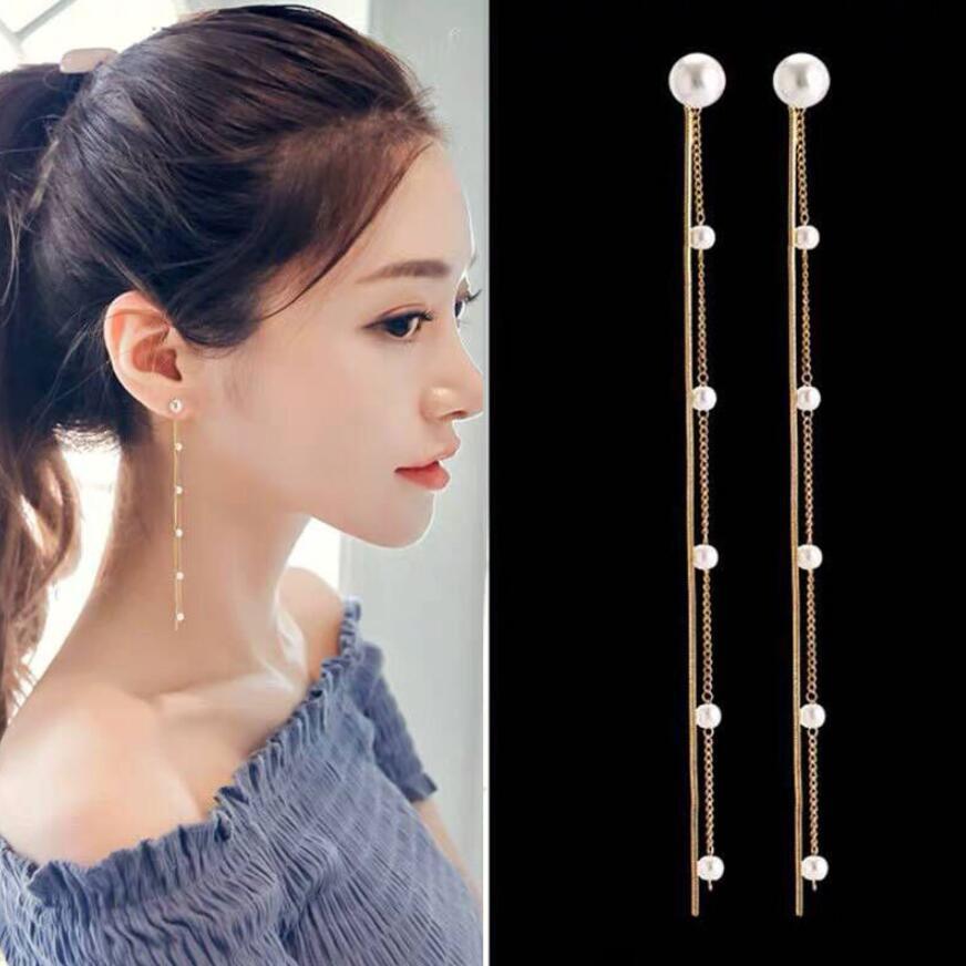 Silver Plated Dangle Hanging Gem Stone Rhinestone Long Drop Earrings For Women Baroque Pearl Charm Snake Chain Tassel Earring