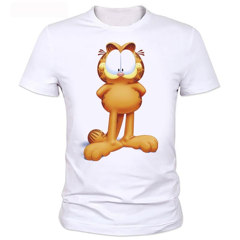 Men T Shirt Garfield Funny cute cartoon Printed Mens Tshirt Fashion New Short Sleeve O Neck T-shirt Tee