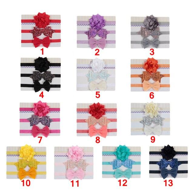 Girl's Bow Elastic Headbands 3 pcs Set 3