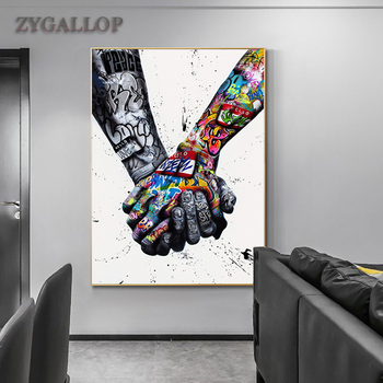 Street Graffiti Hands Canvas Painting Modern Wall Art Posters and Prints Inspiration Artwork Pictures for Living Room Home Decor graffiti art monkey canvas painting colorful printed poster and prints painting wall pictures for living room home decor artwork