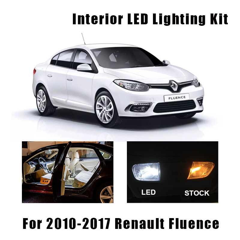 12pcs Canbus Error Free Car LED Bulbs Interior Reading Dome Trunk Light Kit For 2010-2017 Renault Fluence License Plate Lamp