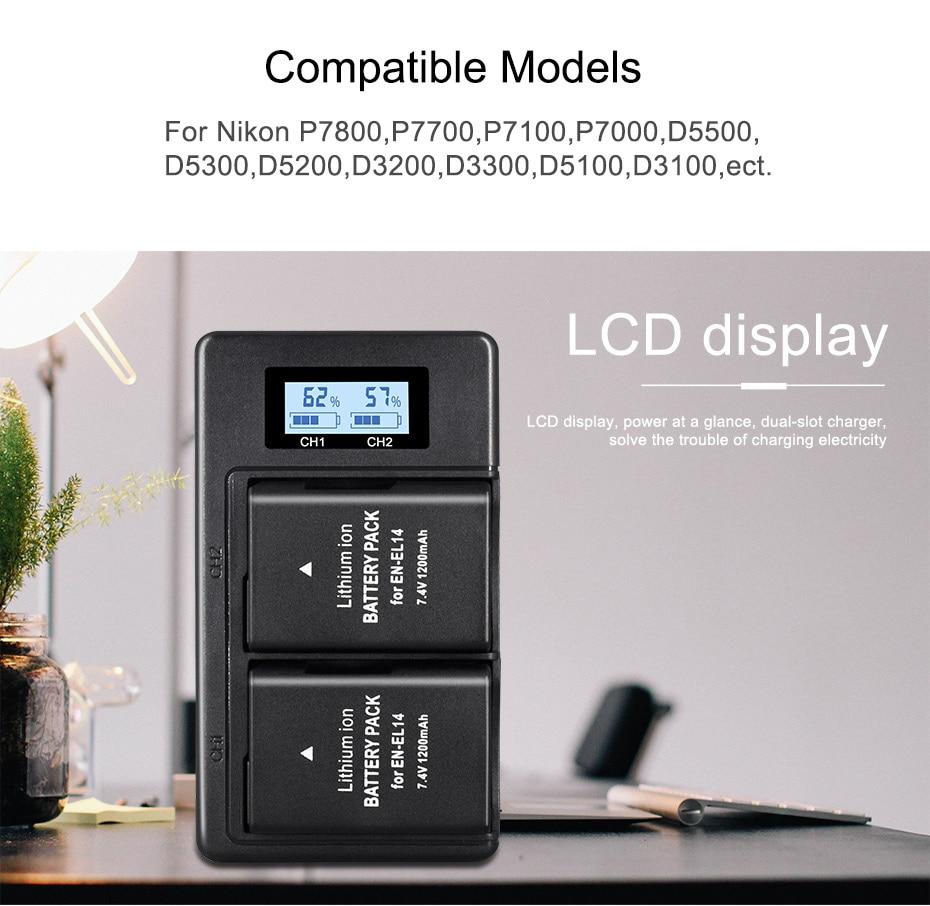 1200mAh 2x EN EL14A EN EL14 ENEL14 Battery LCD USB Dual Charger for Nikon D3100 D3200 D3300 D3400 D3500 D5600 D5100 D5200 P7000 in Digital Batteries from Consumer Electronics