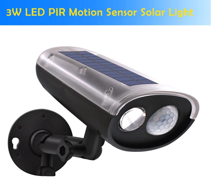 nova chegada 3w led pir sensor de movimento ao ar livre luz solar holofotes energia solar
