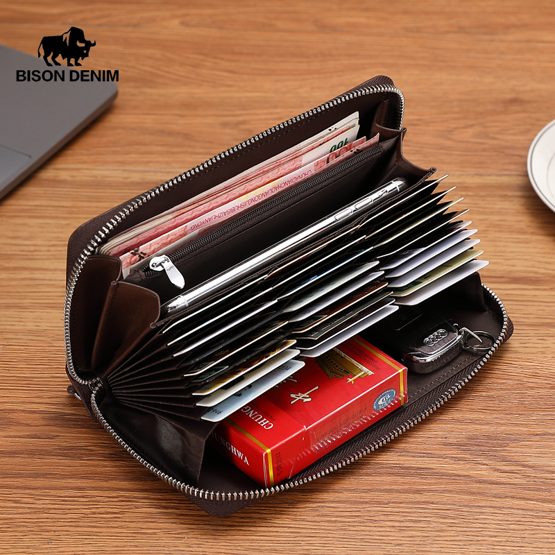 BISON DENIM Genuine Leather Wallet Men Zipper Coin Pocket Long Purse Male Passport Cover RFID Blocking Card Holder Wallet W8226