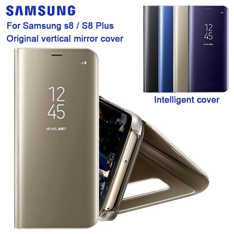 Funda con espejo transparente para Samsung Galaxy S8 SM-G9500 S8 + S8 Plus SM-G9550 s-view con soporte - 3