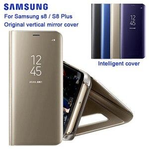 Image 3 - Samsung Originele Spiegel Clear View Cover Voor Samsung Galaxy S8 SM G9500 S8 + S8 Plus SM G9550 S View Flip case Met Kickstand