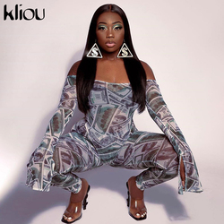 Kliou slash neck sexy women party jumpsuits skinny print overalls sporty active wear long sleeve fashion female stretchy bodycon