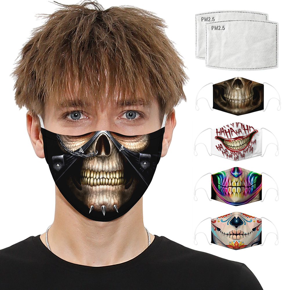 Digital Printing Respirator Mask Mouth Caps Unisex Activated Carbon Filter Anti Dust Protective Mask Mouth Face Masks Reusable