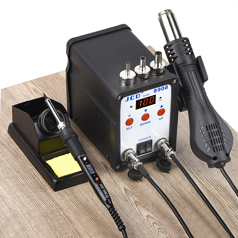 JCD 2 ב 1 הלחמה תחנת SMD BGA עיבוד חוזר LCD דיגיטלי 750W תחנת אוויר חם אקדח ריתוך תיקון הלחמה ברזל כלים 8908