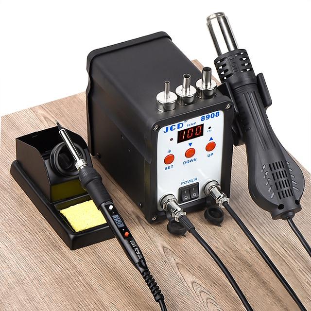 Jcd 2 1 はんだステーション、smd bgaリワークで液晶デジタル 750 ワットステーションホットエアガン溶接修理はんだ鉄ツール 8908