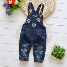 DIIMUU Infant Toddler Baby Boy Girls Overalls Clothing Cartoon Cute Jeans Pants Denim Cotton Casual Trousers  Suspender Pants недорого