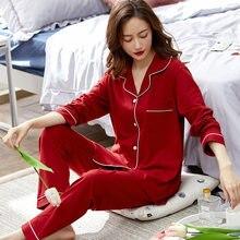 Pijama de algodón 100% para mujer, ropa de Dormir, color rojo liso, para Otoño e Invierno