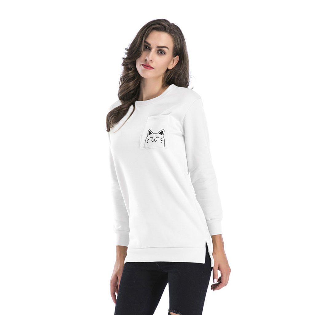 women t shirt autumn and winter long sleeves Women Casual Long Sleeved Loose Round Neck Cartoon Print Top in T Shirts from Women 39 s Clothing