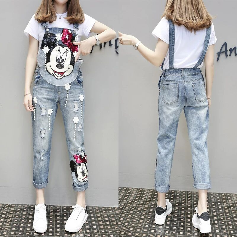 Spring New FashionDenim Overalls Temperament Loose Heavy Work Mickey Cartoon Jeans Bib Pants Women Pants