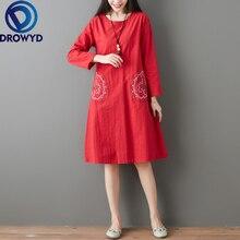 Fashion Embroidered Midi Dress for Women Summer Plus Size Boho Pocket O-neck Loose Dress Casual National Party Dresses Vestidos цены