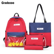 Gradosoo Panelled Backpack Women 4 pcs School Female Bags For Travel Bag Teenage Girls LBF613