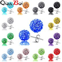QianBei Sterling 925 10MM Trendy Brand Stud Earrings Disco Pave Ball Crystal Earrings For Women Wholesale Fashion Jewelry(China)