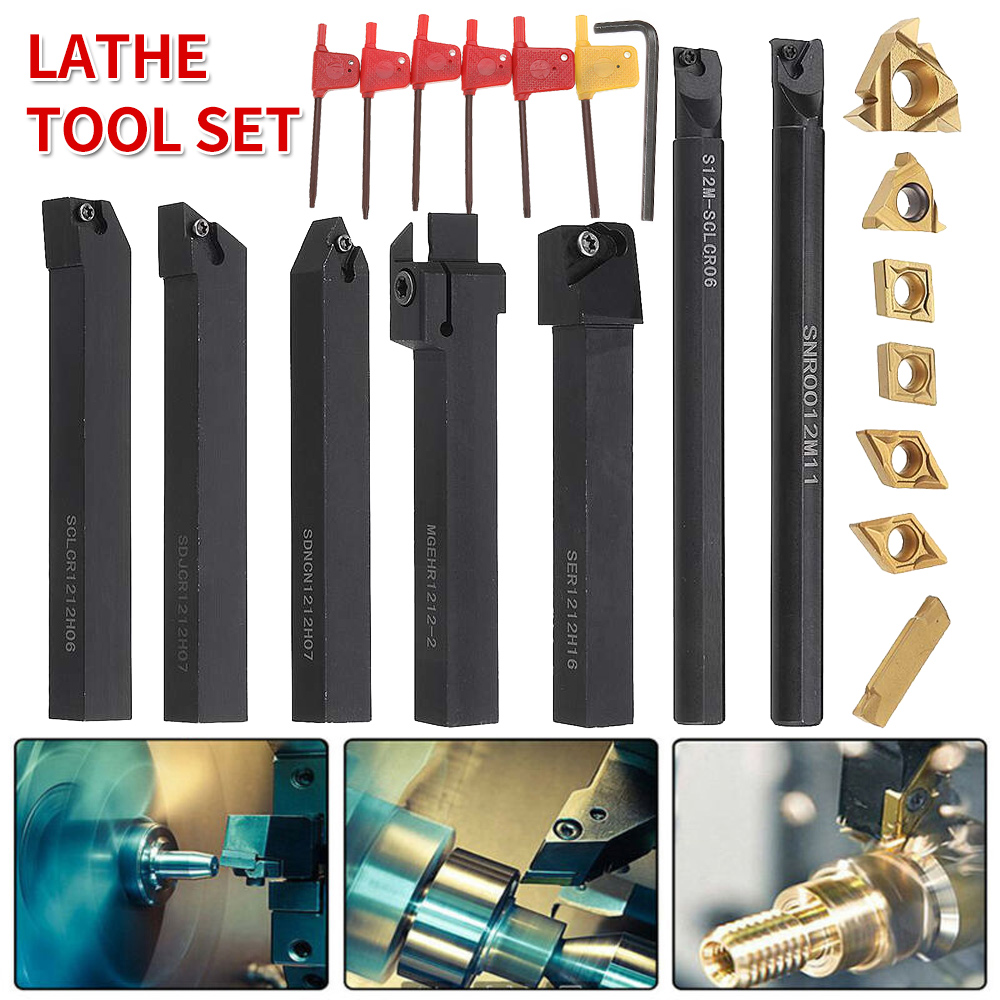 21pcs  8mm 12mm 16mm Shank Lathe Turning Tool Holder Set 45HRC Lathe Boring Bar Lathe Tools With Carbide Inserts For Operations