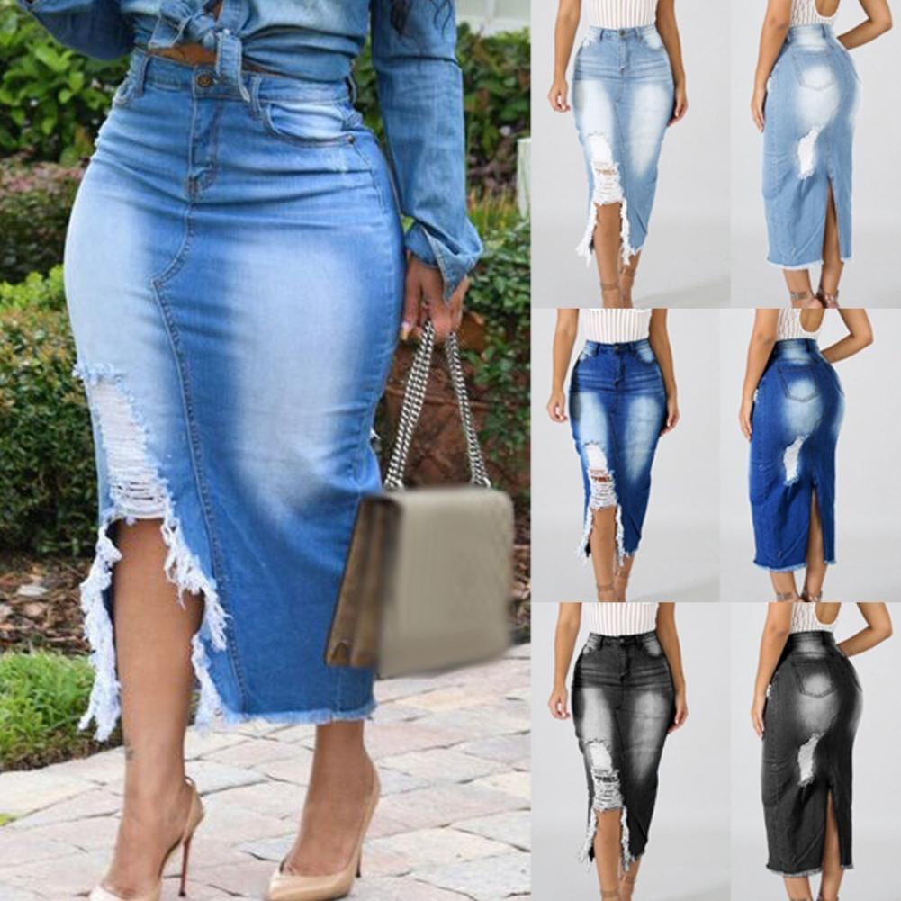 Women Fashion High Waist Ripped Split Denim Distressed Jeans Bodycon Long Skirt