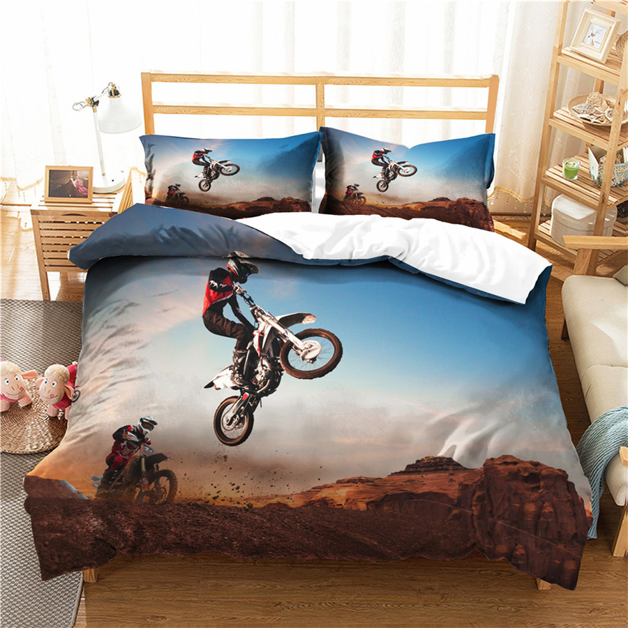 A Bedding Set 3D Printed Duvet Cover Bed Set Motorcycle Home Textiles For Adults Bedclothes With Pillowcase #MTC07