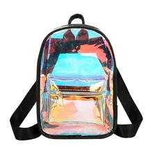 2019 Women Backpack New Backpack Mini Travel Bags Silver Laser Backpack Women Girls Shoulder Bag PU Leather Holographic Backpack цена