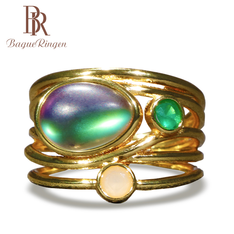 Bague Ringen 925 Sterling Silver Ring For Women With Oval Shape Moonstone Gemstones Silver 925 Jewelry Party Ring Gift