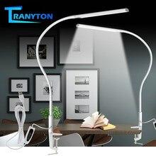 Braço longo lâmpada de mesa clipe escritório lâmpada de mesa 64 pçs led usb luz 3 cor x3 dimable nível proteção para os olhos ajustável estudo luz