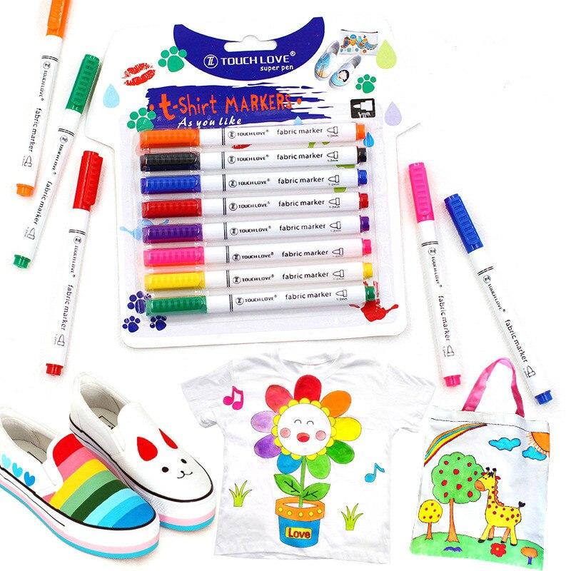 8pcs/Set Clothes Textile Marker Fabric Paint Pen DIY Crafts T-shirt Pigment Painting Pen School Home Stationery Graffiti Supply